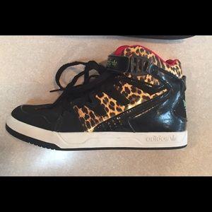 Adidas high tops cheetah print